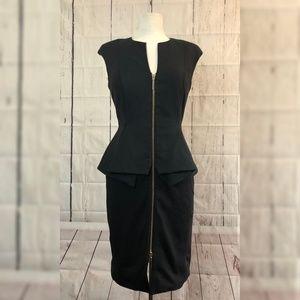 Ted Baker Jamthun Peplum Dress Sz 6 Black EUC